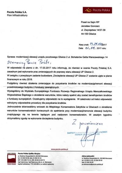 Interwencja mająca na celu poprawę stanu elewacji urzędu pocztowego Gliwice