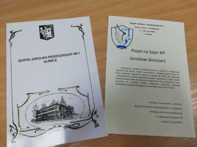 Podziękowania od uczniów Zespołu Szkolno - Przedszkolnego Nr 1 w Gliwicach
