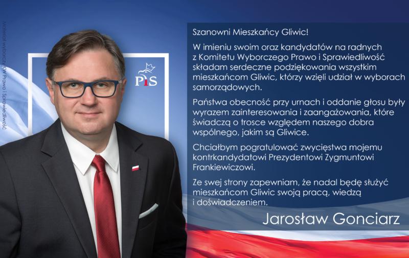 Jarosław Gonciarz podziękowanie za głosy