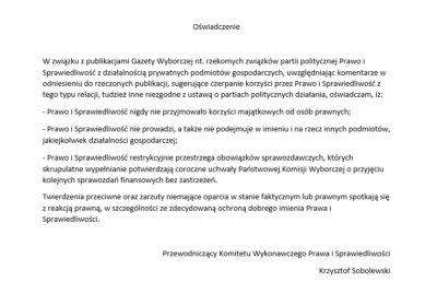 Oświadczenie Przewodniczącego Komitetu Wykonawczego Prawa i Sprawiedliwości Krzysztofa Sobolewskiego