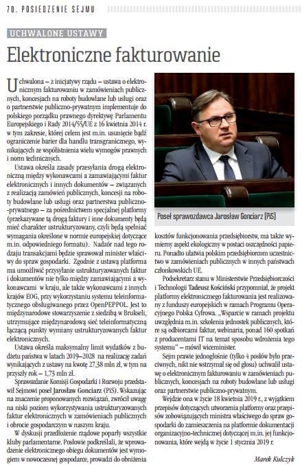 Kronika Sejmowa pisze o pracach nad ustawą o elektronicznym fakturowaniu w zamówieniach publicznych