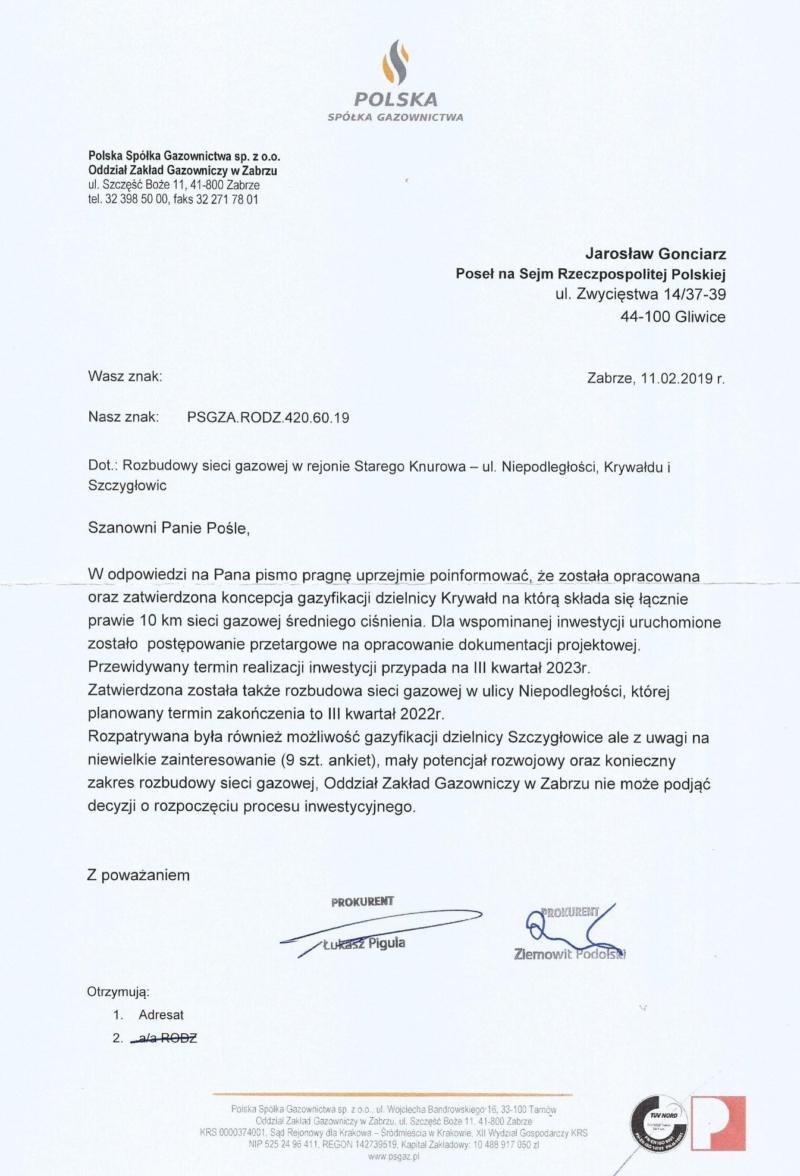 Odpowiedź na podjętą przeze mnie interwencję w sprawie rozbudowy sieci gazowej w rejonie Starego Knurowa - ul. Niepodległości, Krywałdu i Szczygłowic