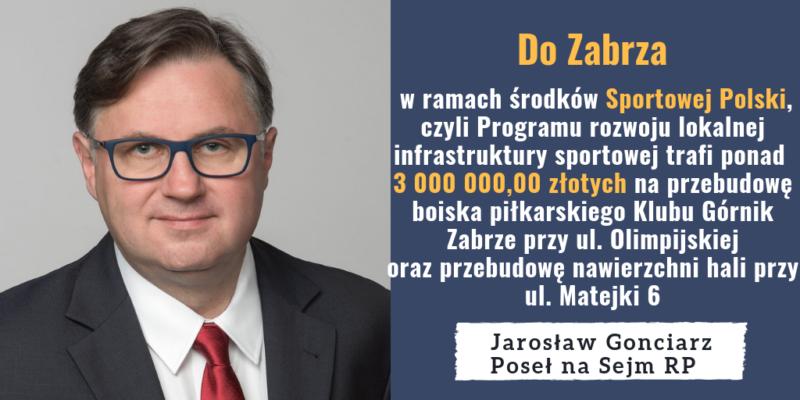 Do Zabrza trafi łącznie ponad 3 000 000,00 złotych z Programu rozwoju lokalnej infrastruktury sportowej