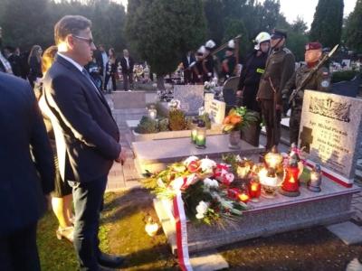 Uroczystości upamiętniające 80. rocznicę wybuchu II wojny światowej na cmentarzu parafialnym w dzielnicy Bojków